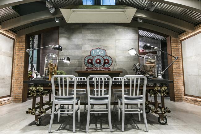 détail table cuisine industriel Novoceram