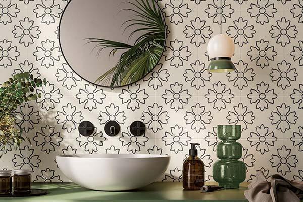 carrelage papier peint salle de bain