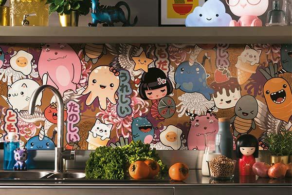 papier peint carrelage cuisine